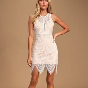 NWT Lulu's Serious Love White Lace Bodycon Dress
